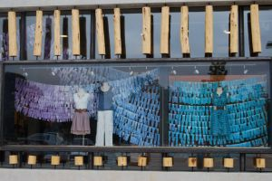 Addie's most recent display, featuring hand-dyed fabric swatches.