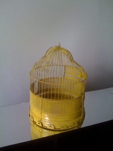 Antique yellow birdcage